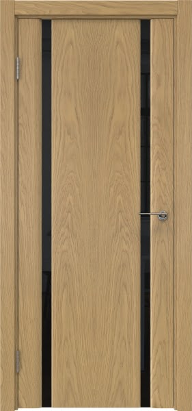 Межкомнатная дверь GM016 (натуральный шпон дуба / триплекс черный)