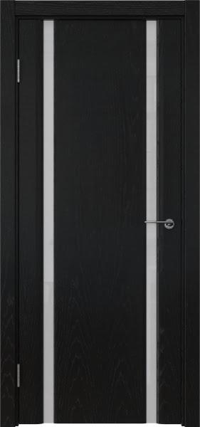 Межкомнатная дверь GM016 (шпон ясень черный / триплекс белый)