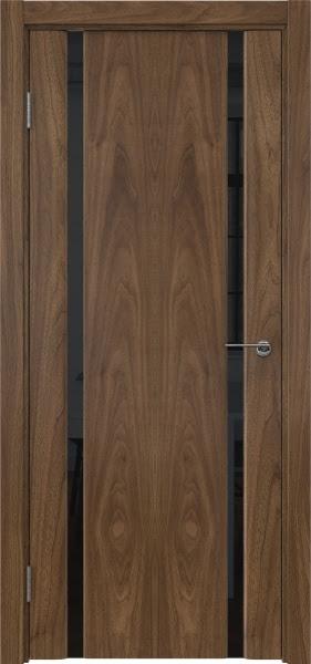 Межкомнатная дверь GM016 (шпон американский орех / триплекс черный)
