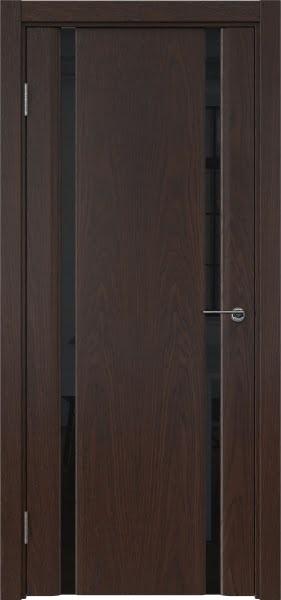 Межкомнатная дверь GM016 (шпон дуб коньяк / триплекс черный)