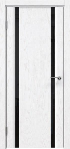 Межкомнатная дверь GM016 (шпон ясень белый / триплекс черный)