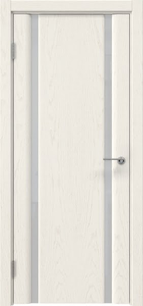 Межкомнатная дверь GM016 (шпон ясень слоновая кость / триплекс белый)
