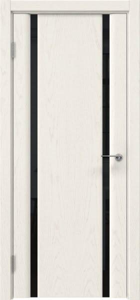 Межкомнатная дверь GM016 (шпон ясень слоновая кость / триплекс черный)
