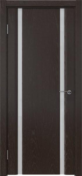 Межкомнатная дверь GM016 (шпон ясень темный / триплекс белый)