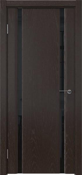 Межкомнатная дверь GM016 (шпон ясень темный / триплекс черный)