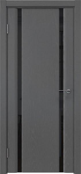 Межкомнатная дверь GM016 (шпон ясень серый / триплекс черный)
