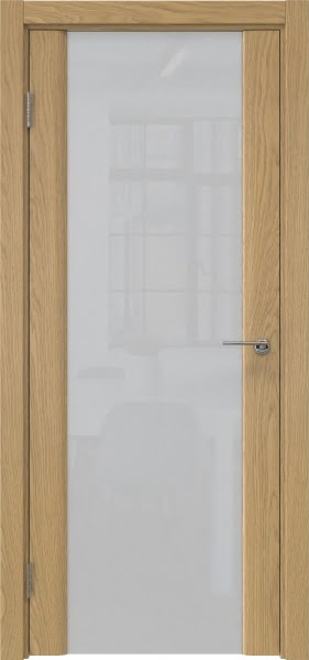 Межкомнатная дверь GM017 (натуральный шпон дуба / триплекс белый)