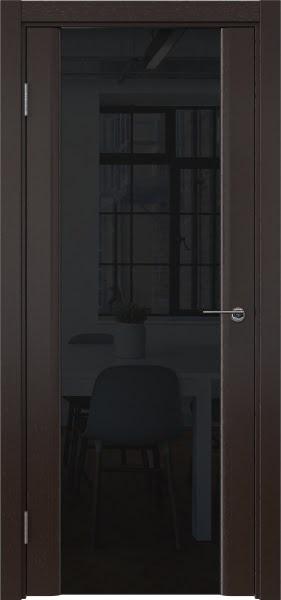 Межкомнатная дверь GM017 (шпон венге / триплекс черный)