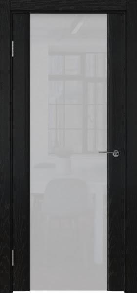 Межкомнатная дверь GM017 (шпон ясень черный / триплекс белый)