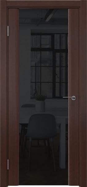 Межкомнатная дверь GM017 (шпон итальянский орех / триплекс черный)