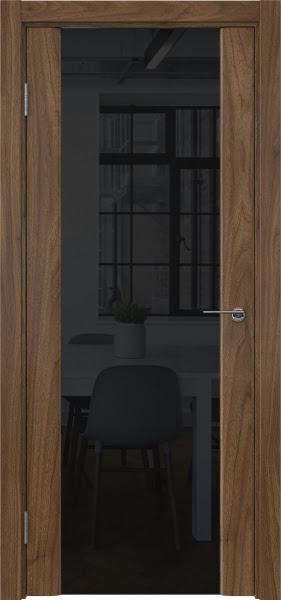 Межкомнатная дверь GM017 (шпон американский орех / триплекс черный)