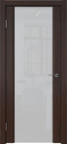 Межкомнатная дверь GM017 (шпон дуб коньяк / триплекс белый)