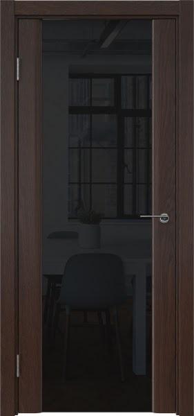 Межкомнатная дверь GM017 (шпон дуб коньяк / триплекс черный)