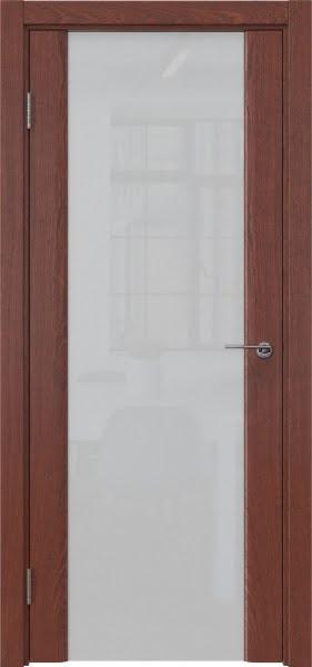 Межкомнатная дверь GM017 (шпон красное дерево / триплекс белый)