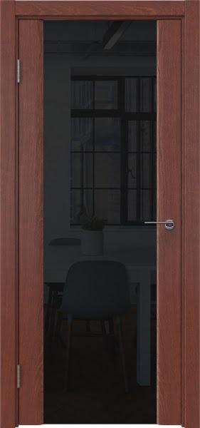 Межкомнатная дверь GM017 (шпон красное дерево / триплекс черный)