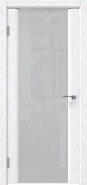 Межкомнатная дверь GM017 (шпон ясень белый / триплекс белый)
