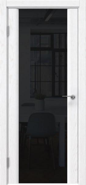 Межкомнатная дверь GM017 (шпон ясень белый / триплекс черный)