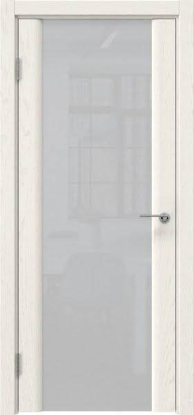 Межкомнатная дверь GM017 (шпон ясень слоновая кость / триплекс белый)