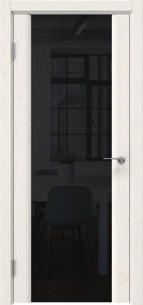 Межкомнатная дверь GM017 (шпон ясень слоновая кость / триплекс черный)