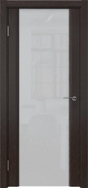 Межкомнатная дверь GM017 (шпон ясень темный / триплекс белый)