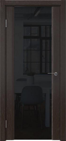Межкомнатная дверь GM017 (шпон ясень темный / триплекс черный)