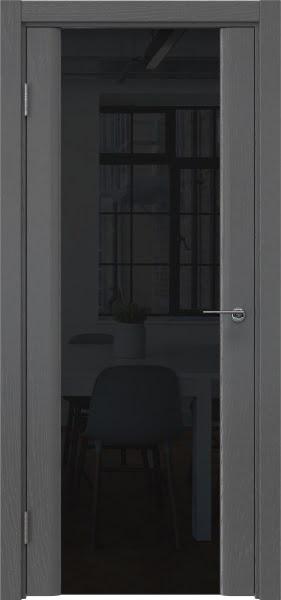 Межкомнатная дверь GM017 (шпон ясень серый / триплекс черный)