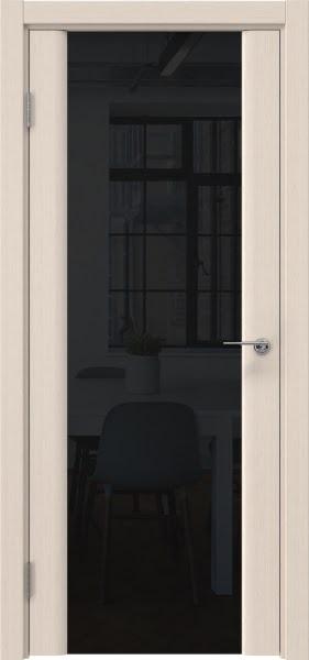 Межкомнатная дверь GM017 (шпон беленый дуб / триплекс черный)