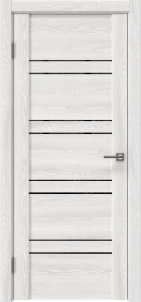 Межкомнатная дверь GM018 (экошпон «ясень айс» / лакобель черный)