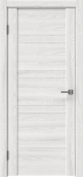 Межкомнатная дверь GM018 (экошпон «ясень айс» / лакобель белый)
