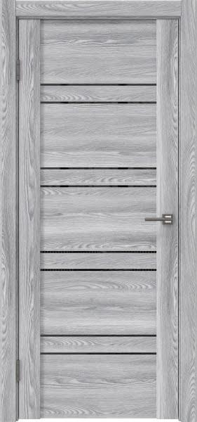 Межкомнатная дверь GM018 (экошпон «ясень грей» / лакобель черный)