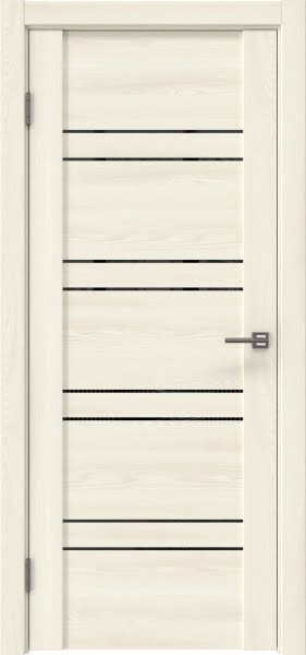 Межкомнатная дверь GM018 (экошпон «ясень крем» / лакобель черный)