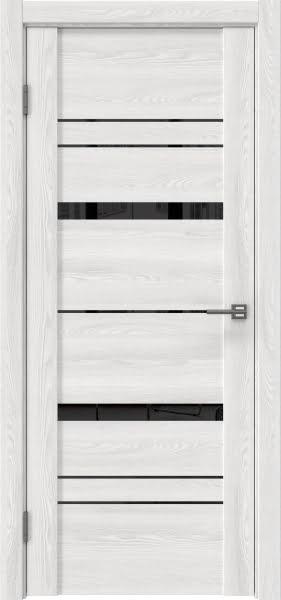 Межкомнатная дверь GM019 (экошпон «ясень айс» / лакобель черный)