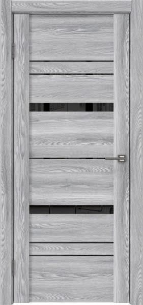 Межкомнатная дверь GM019 (экошпон «ясень грей» / лакобель черный)