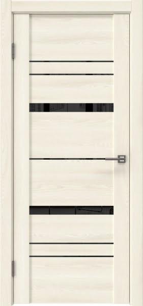 Межкомнатная дверь GM019 (экошпон «ясень крем» / лакобель черный)