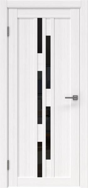 Межкомнатная дверь RM001 (экошпон «белый FL», лакобель черный)