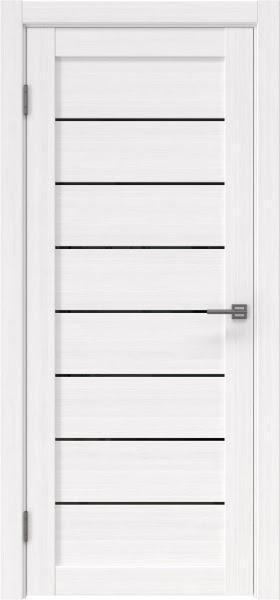 Межкомнатная дверь RM003 (экошпон «белый FL», лакобель черный)