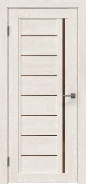 Межкомнатная дверь RM009 (экошпон «белый дуб» / стекло бронзовое)