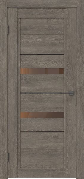 Межкомнатная дверь RM010 (экошпон «серый дуб» / стекло бронзовое)