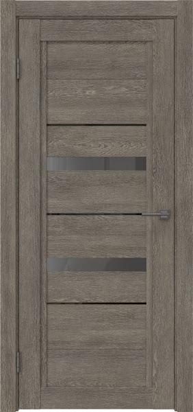 Межкомнатная дверь RM010 (экошпон «серый дуб» / стекло графит)