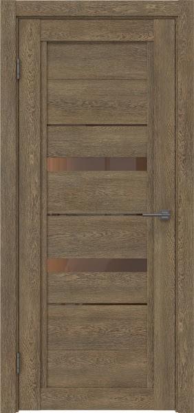 Межкомнатная дверь RM010 (экошпон «дуб антик» / стекло бронзовое)