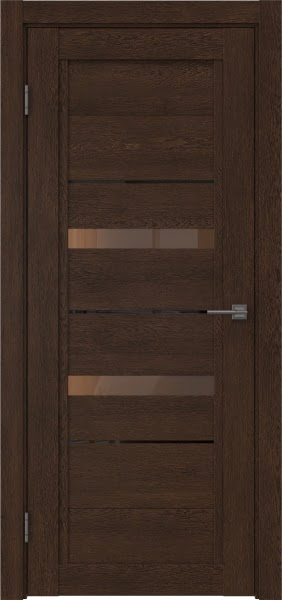 Межкомнатная дверь RM010 (экошпон «дуб шоколад» / стекло бронзовое)