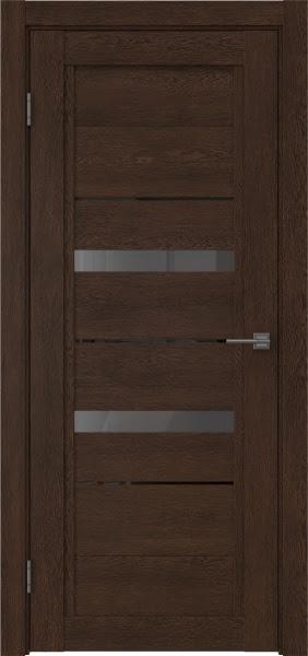 Межкомнатная дверь RM010 (экошпон «дуб шоколад» / стекло графит)