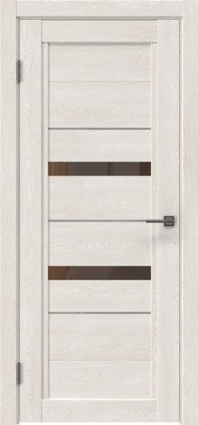 Межкомнатная дверь RM010 (экошпон «белый дуб» / стекло бронзовое)