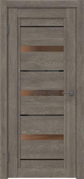 Межкомнатная дверь RM011 (экошпон «серый дуб» / стекло бронзовое)