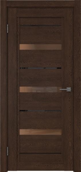 Межкомнатная дверь RM011 (экошпон «дуб шоколад» / стекло бронзовое)