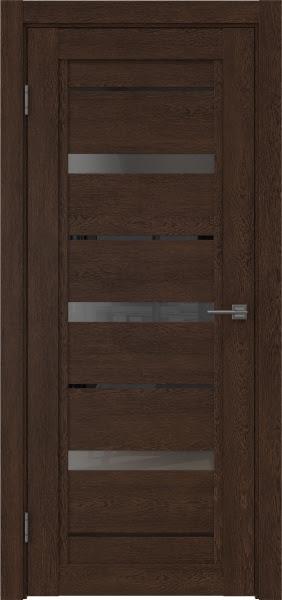 Межкомнатная дверь RM011 (экошпон «дуб шоколад» / стекло графит)