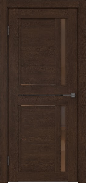 Межкомнатная дверь RM012 (экошпон «дуб шоколад» / стекло бронзовое)