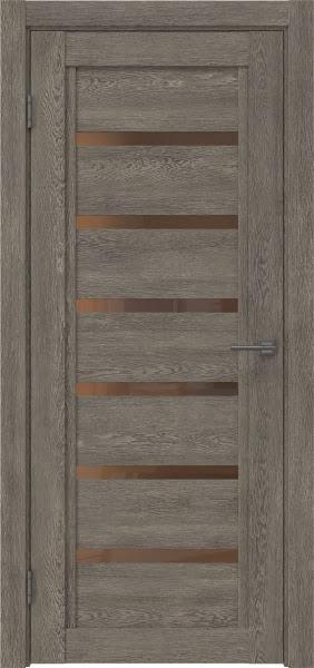 Межкомнатная дверь RM015 (экошпон «серый дуб» / стекло бронзовое)
