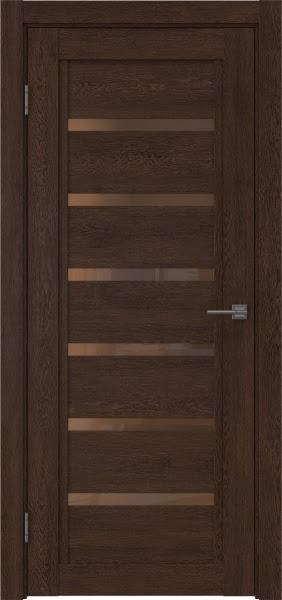 Межкомнатная дверь RM015 (экошпон «дуб шоколад» / стекло бронзовое)