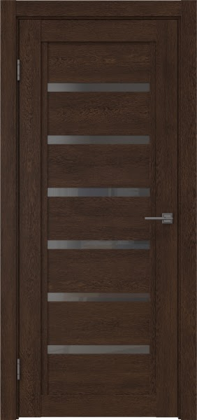 Межкомнатная дверь RM015 (экошпон «дуб шоколад» / стекло графит)